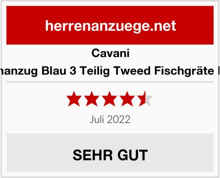 Cavani Herrenanzug Blau 3 Teilig Tweed Fischgräte Design Test