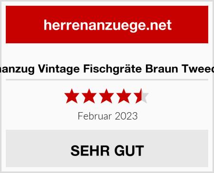 Herrenanzug Vintage Fischgräte Braun Tweed Optik Test