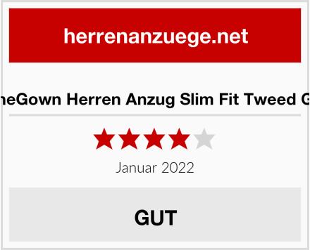 ShineGown Herren Anzug Slim Fit Tweed Grün Test