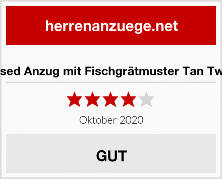 Xposed Anzug mit Fischgrätmuster Tan Tweed Test