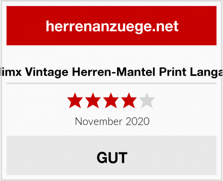 Zolimx Vintage Herren-Mantel Print Langarm Test