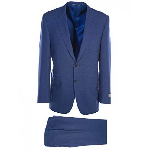 Canali Broken Check Peak Lapel Suit in Blue Sakko