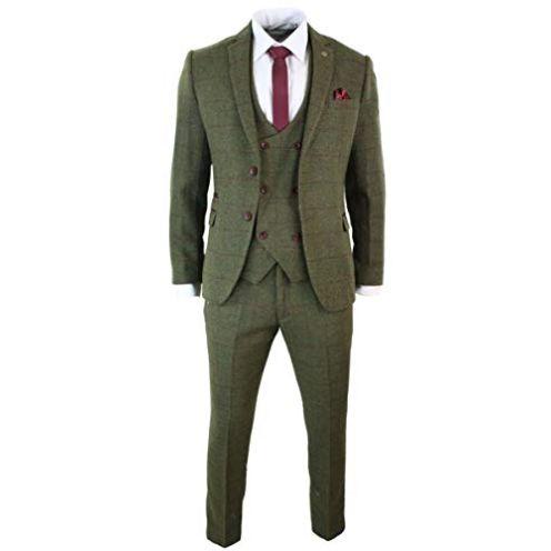 ShineGown Herren Anzug Slim Fit Tweed Grün