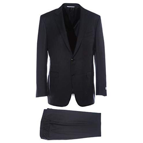 Canali Notch Lapel Suit in Black Anzug