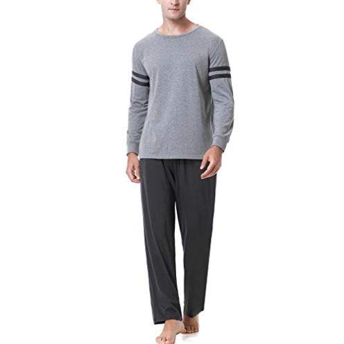 Aibrou Schlafanzug Set für Herren Dunkelgrau