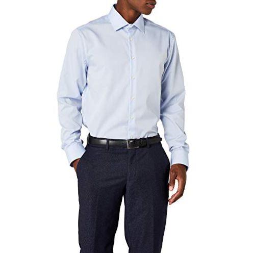 Seidensticker Herren Kent Shaped Fit Business Hemd Hellblau 15