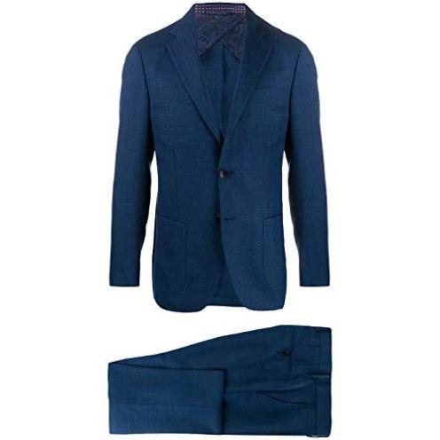 Etro 1A1021229200 Blau Wolle Anzug