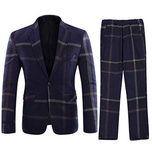 YOUTHUP Herren 2 Teilig Anzug Slim fit Business Tweed
