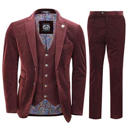Xposed Herren Anzug Set Cord Vintage Stil