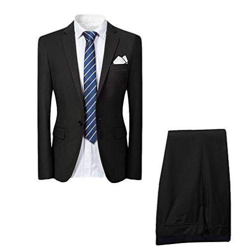 Allthemen Hochzeitsanzug Slim Fit Set Schwarz