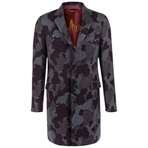Etro Herren Wollmantel Camouflage Grau