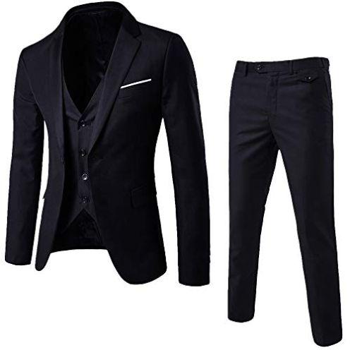 Plot Herren 3-Teilig Slim Fit Anzug Smoking