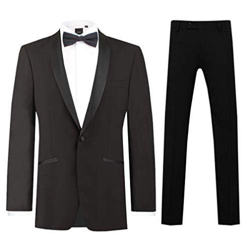 Dobell Herren Schwarzer Smoking-Anzug