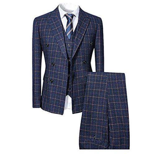 Cloudstyle-Store Herren Anzug Slim Fit 3 Teilig Kariert