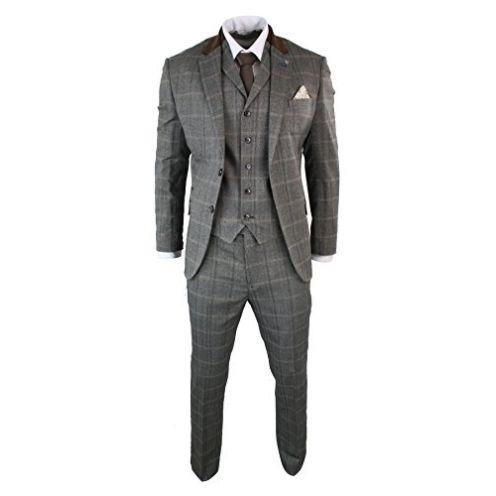 CB Herrenanzug Beige 3 Teilig Kariert Tweed Design