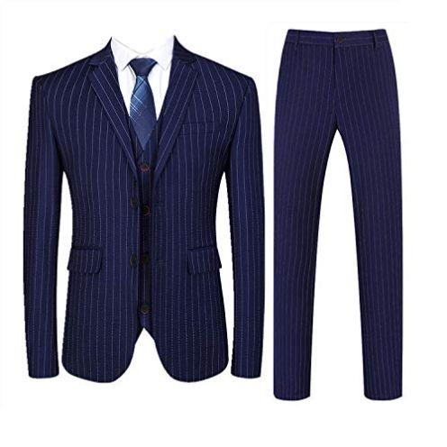 MOGU Herren-Anzug mit Nadelstreifen schmale Passform