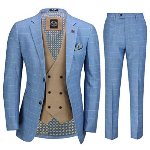 Xposed Herren Sky Blau Windowpane Anzug