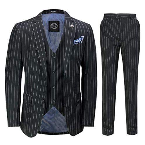 Xposed Herren 3 Stück Pin Stripe Anzug