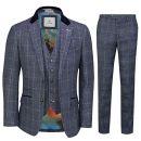 Cavani 3-teiliger Herrenanzug aus Tweed kariert Marineblau
