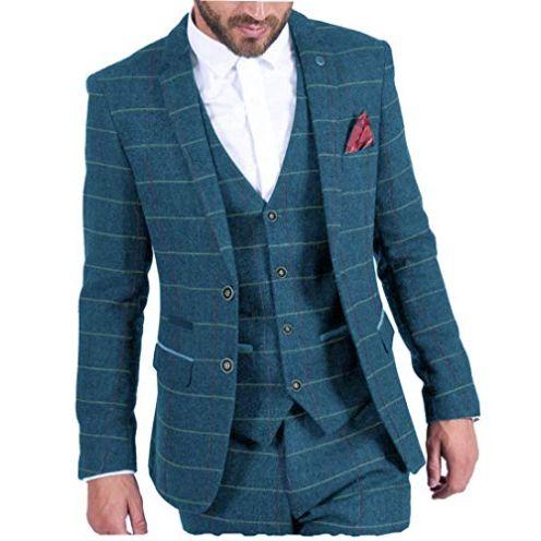 MoranX Casual Herren Anzüge 3 Teilig Wolle Kariert Blau